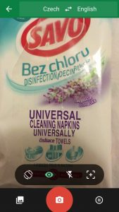 Camera translation of a packet of Czech cleaning wipes