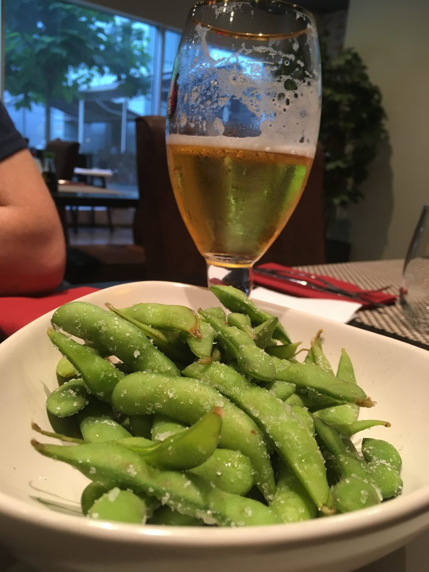 Edamame beans and beer