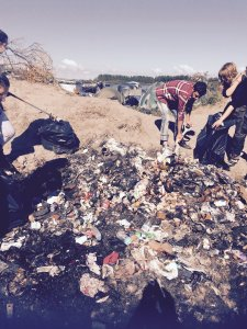 a mound of rubbish in the camp