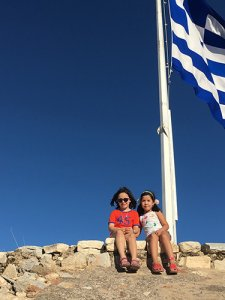 Girls and the Greek flag
