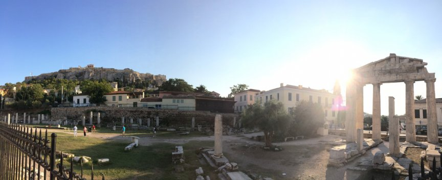 Lush panoramic of the Acropolis and other ruins