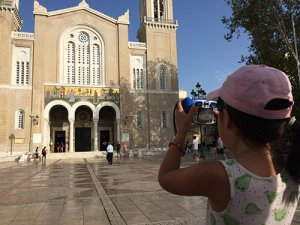 Roobs taking a photo of the cathedral