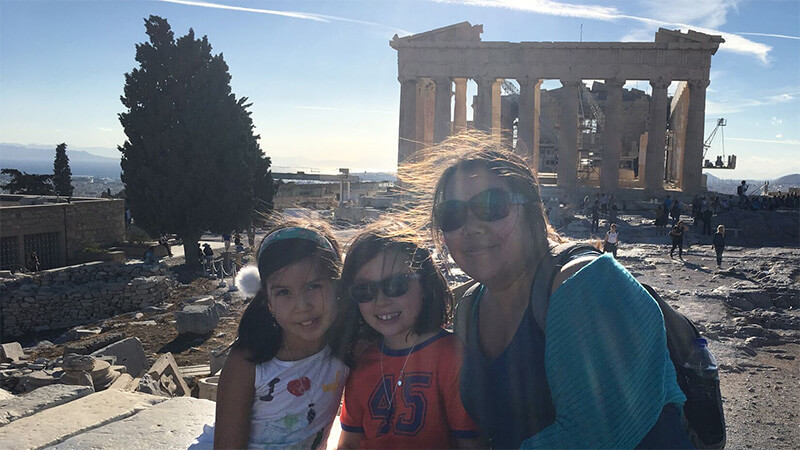 Roobs, Elsie and Mum in front of the Parthenon at the Acropolis