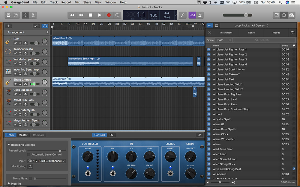 Screenshot of GarageBand on Mac