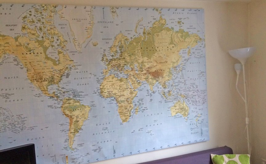 Map of the world on our wall at home